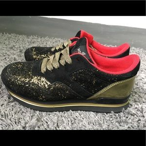 Hogan Club H222 Black Gold Glitter Sneakers